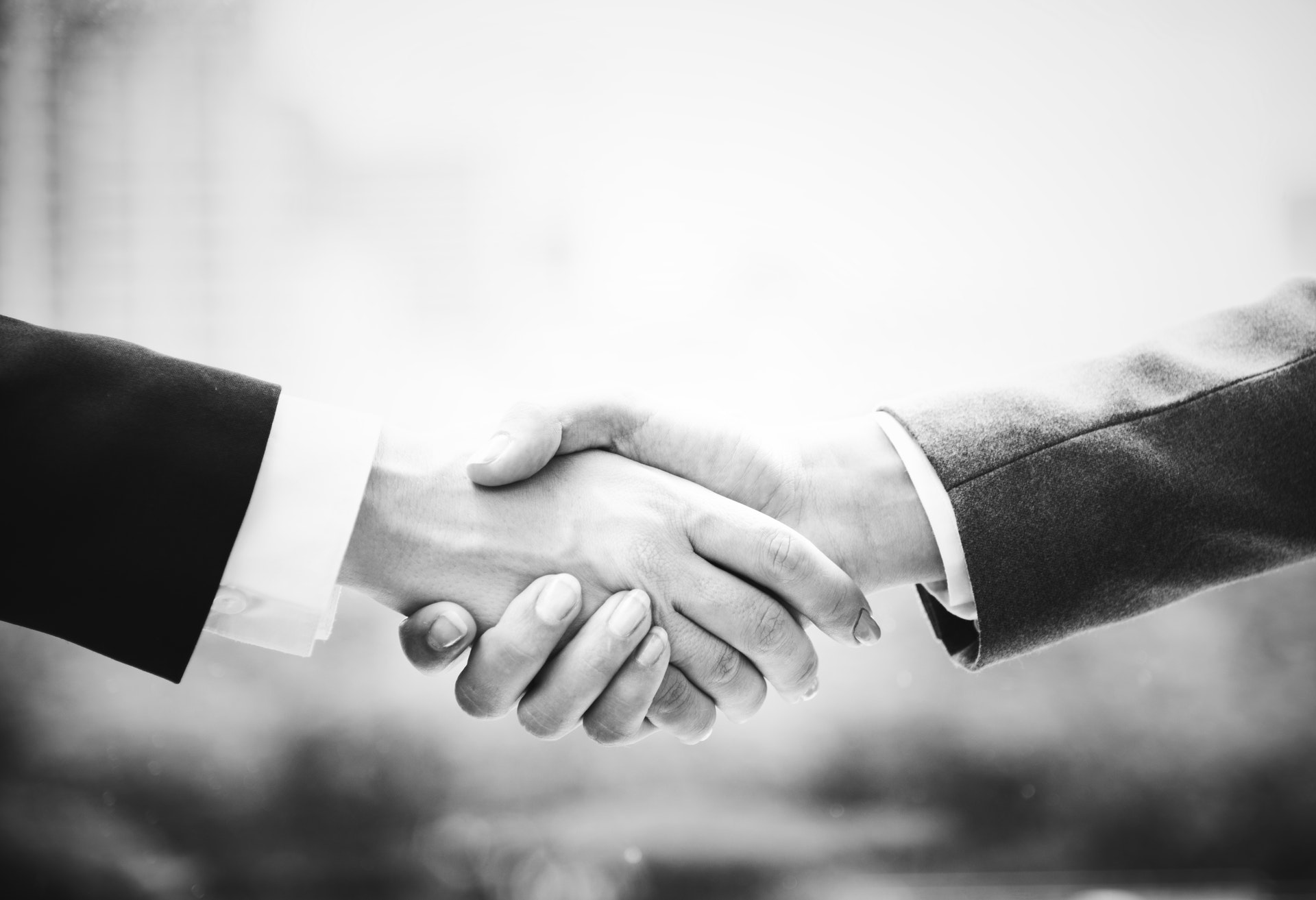 black and white photograph of a handshake