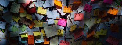 Photograph of a wall covered in post-it notes